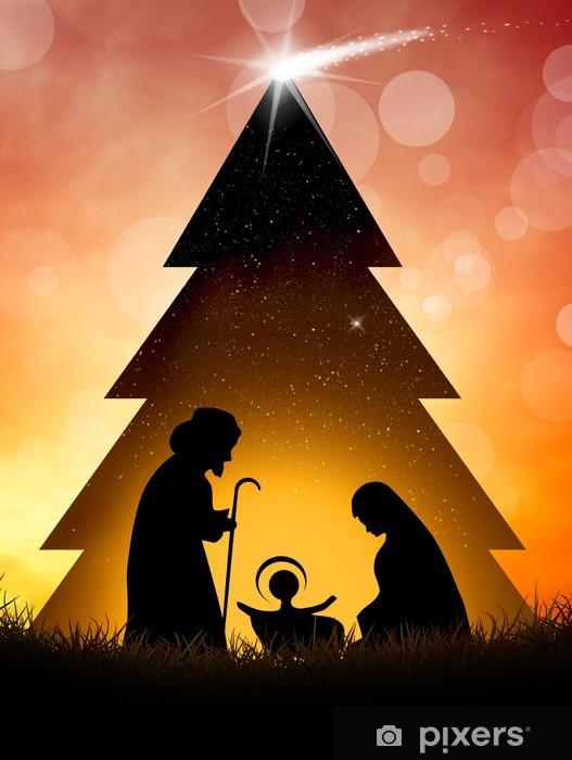 Immagini Natale Presepe.Carta Da Parati In Vinile Natale Presepe Scena
