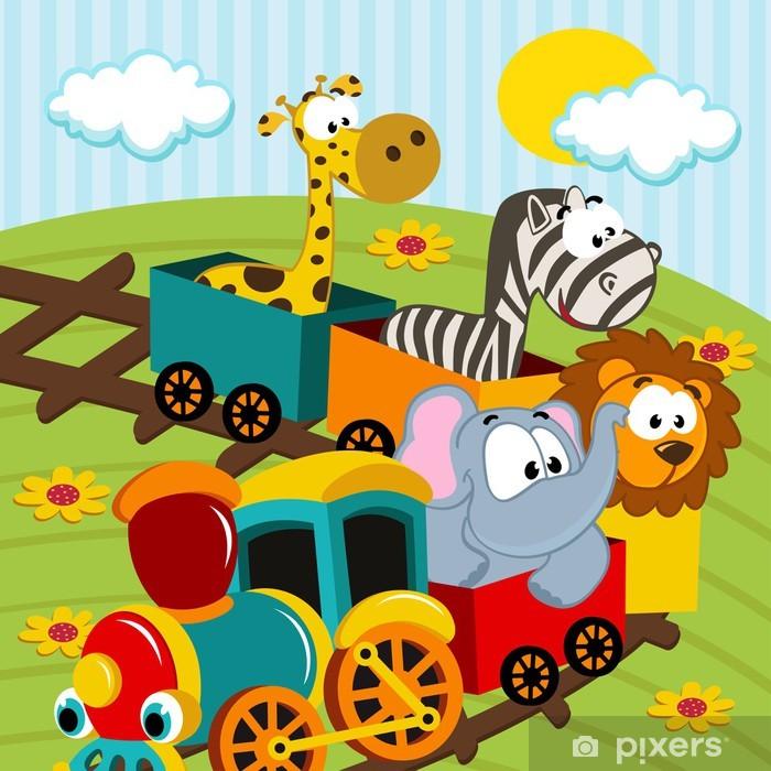 Fotomural Estándar Animales en tren - ilustración vectorial - Para niña