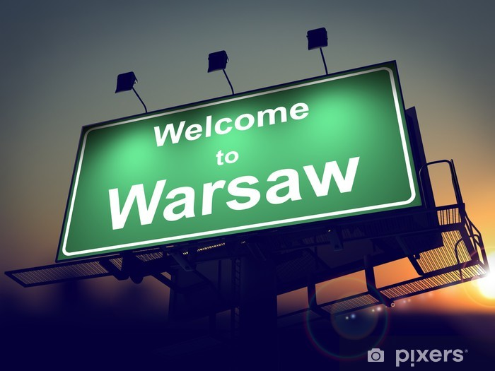 Vinilo Pixerstick Billboard Bienvenido a Varsovia a la salida del sol. - Temas