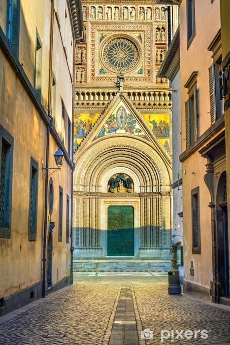 Nálepka Pixerstick Orvieto středověká katedrála Duomo fasády. Itálie - Evropa