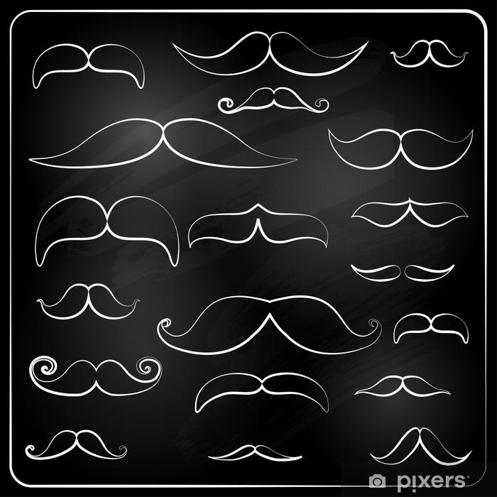 Sticker Pixerstick Ensemble de moustaches dessinées à la craie. - Parties du corps