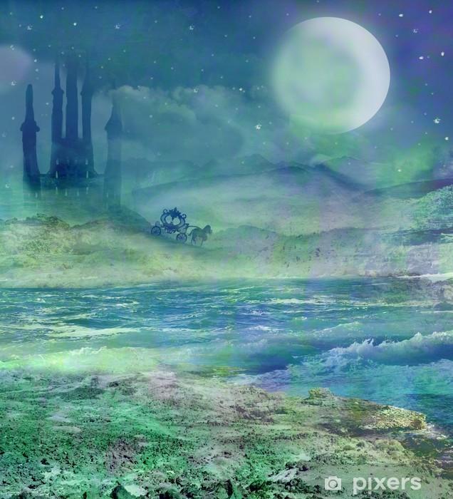 Papier peint vinyle Silhouette d'une calèche et un château médiéval - Autres sentiments
