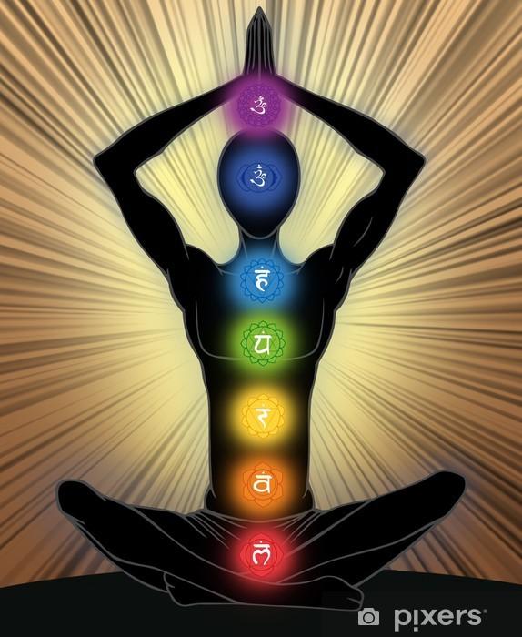 Naklejka Pixerstick Sylwetkę człowieka w pozycji jogi - Zdrowie