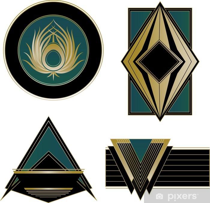Klesskapklistremerke Art Deco-logoer og designelementer - Mote