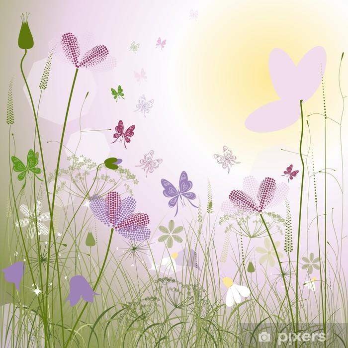 Vinylová fototapeta Luční květiny a motýly - Vinylová fototapeta