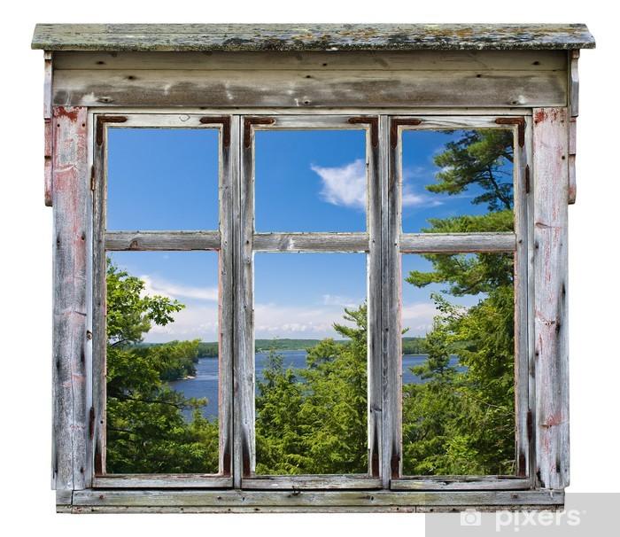 Scenic view seen through an old window frame Pixerstick Sticker - Destinations