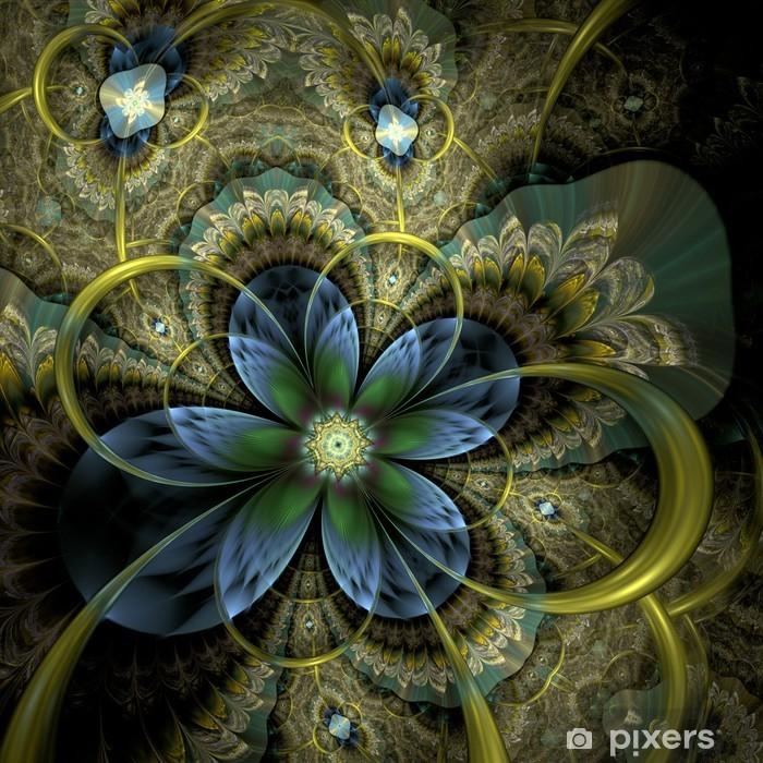 Sticker Pixerstick Fleur de fractale lumière colorée ou papillon, d'oeuvres numériques - Abstrait