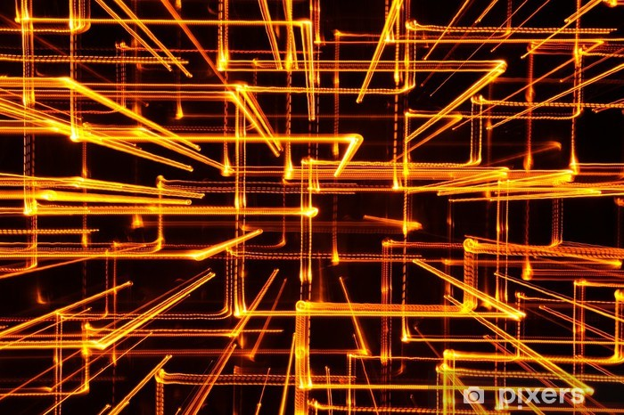 Fototapeta samoprzylepna 3d streszczenie żółte świecące linie jako tło - Abstrakcja