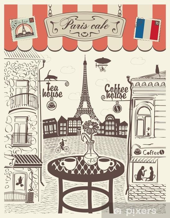 Fototapeta winylowa Paryska restauracja ulicy z widokiem na Wieżę Eiffla - Do kawiarni