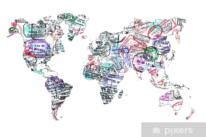 Sticker Pixerstick Carte du monde tampons de passeport, isolé - iStaging