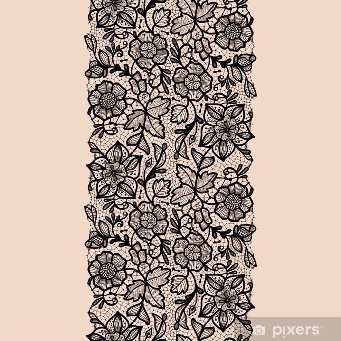 Plakat Streszczenie wstążki koronki szwu z elementami kwiatów. - Tekstury