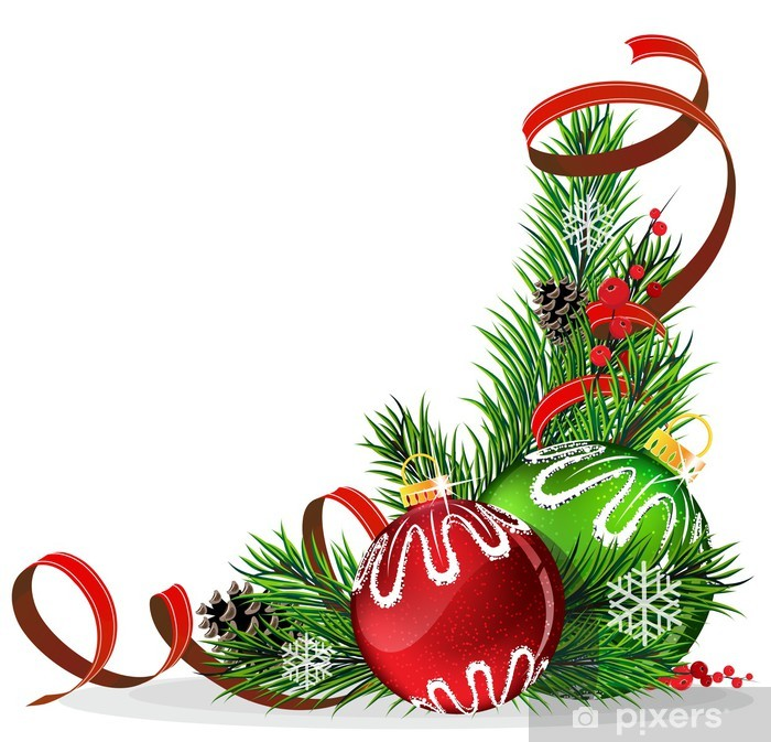 Nálepka Pixerstick Vánoční strom koule s červenou stuhou - Mezinárodní svátky