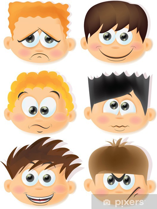 Fototapete Cartoon lustige Kinder mit Emotionen • Pixers® - Wir ...