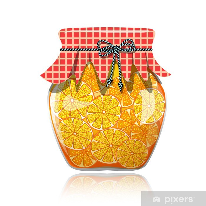 Plakát Skleněná nádoba konzervované pomerančová marmeláda - Jídla