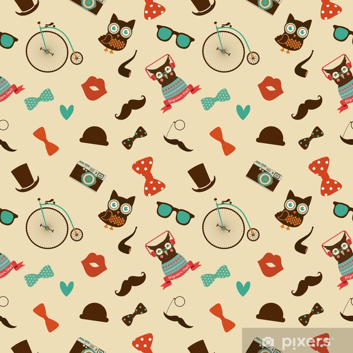 Vector Hipster Doodles Colorful Seamless Pattern, Background Pixerstick Sticker - Moustache