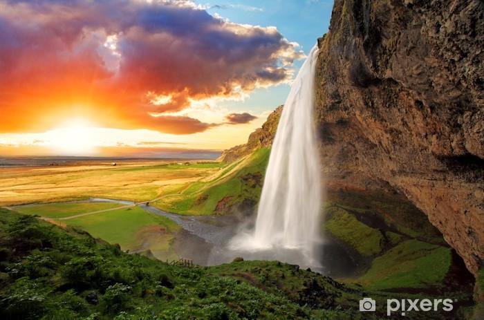 Waterfall, Iceland - Seljalandsfoss Vinyl Wall Mural - Themes