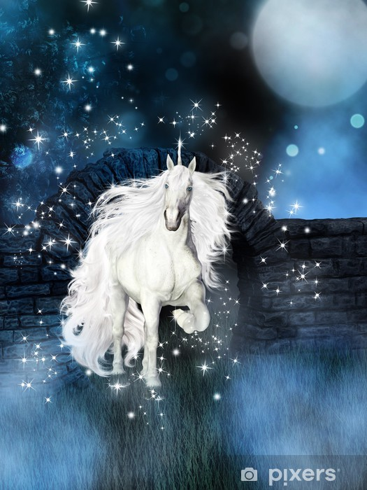 magical background with white unicorn Vinyl Wall Mural - Themes