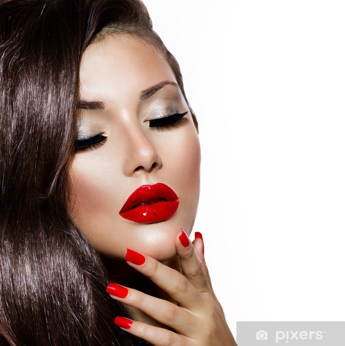 Fashion Nail Salon And Beauty Spa Games For Girls: Sexy Beauty Girl With Red Lips And Nails. Provocative