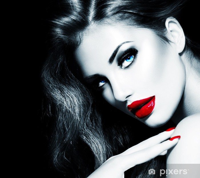 Sexy Beauty Girl with Red Lips and Nails. Provocative Makeup Vinyl Wall Mural - Themes