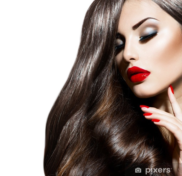 Sexy Beauty Girl with Red Lips and Nails. Provocative Makeup Vinyl Wall Mural - Fashion