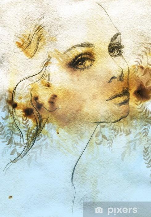 Naklejka Pixerstick Piękna kobieto. Akwarele ilustracji - Tematy