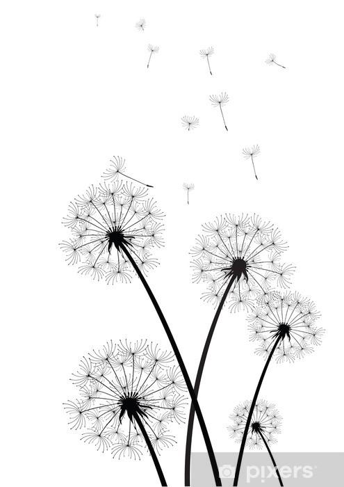 black and white dandelions vector Pixerstick Sticker - Styles