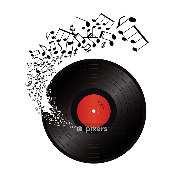 music notes coming out of the hole in the vinyl Wall Decal - Music