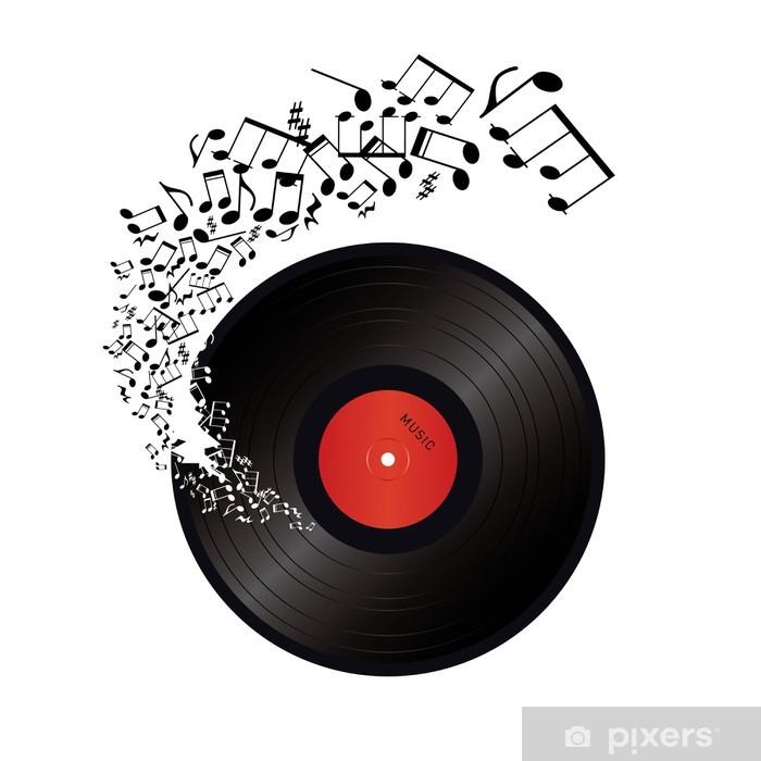 Papier peint vinyle Des notes de musique qui sort du trou dans le vinyle - Musique