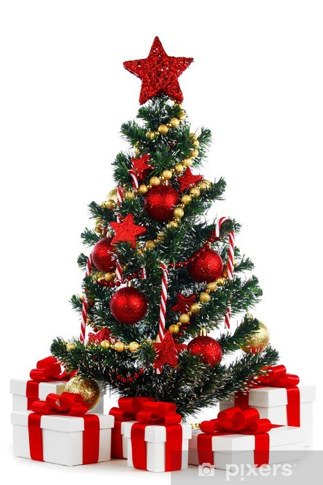 Christmas Tree White Background.Wall Mural Vinyl Decorated Christmas Tree On White Background