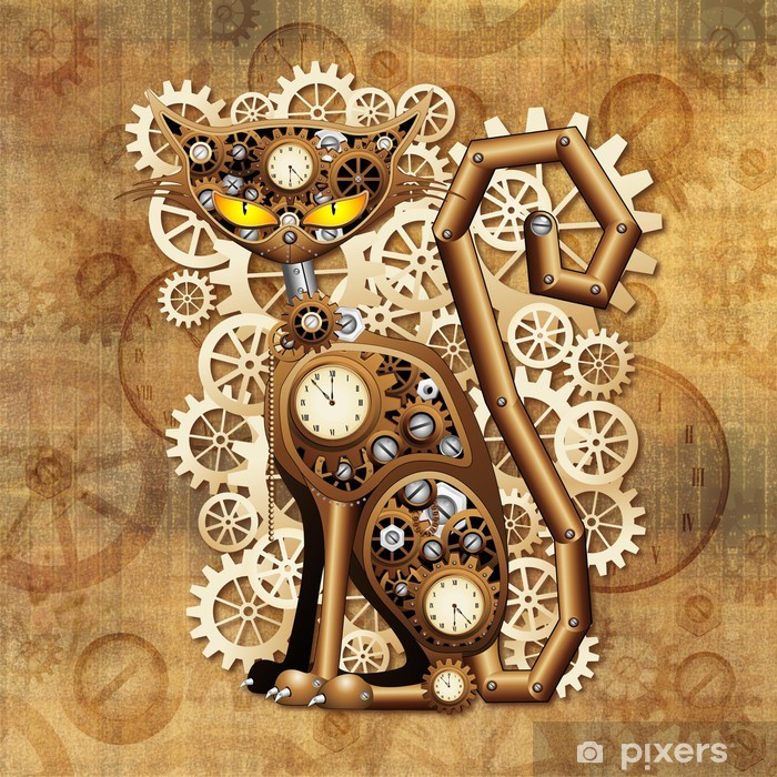 Steampunk Cat Vintage Style-Gatto Meccanico Surreale Vinyl Wall Mural - Steampunk