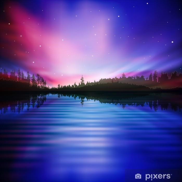 Poster Abstrakten Hintergrund mit Waldsee und Sonnenaufgang - Naturwunder