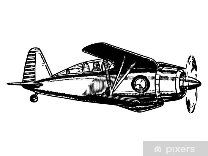 Nálepka Pixerstick Dvouplošník letadlo za letu. Vintage styl vektorové ilustrace. - Vzduch