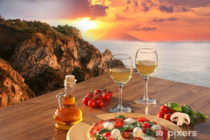 Italian pizza and glasses of wine against Calabria coast, Italy Pixerstick Sticker - Themes