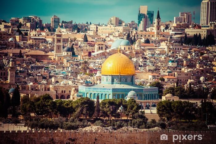 Pixerstick Dekor Vy över Jerusalem, Klippdomen, Oljeberget, Israel - Mellanöstern