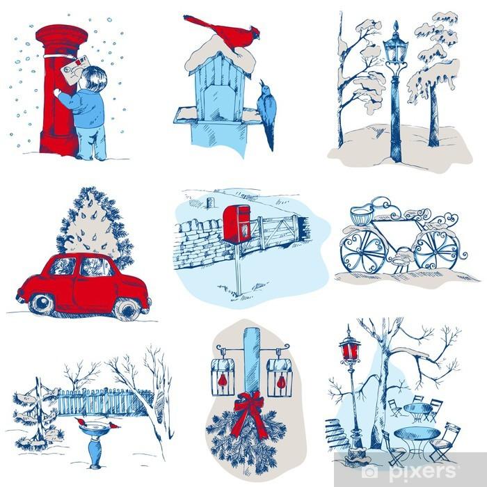 Sticker Pixerstick Ensemble d'éléments de Noël - pour la conception et l'album - dans le vecteur - Fêtes internationales