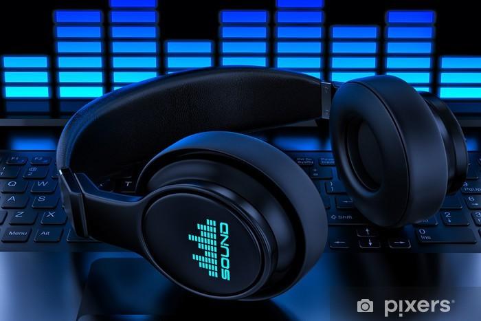 Headphones on laptop. Recording audio Pixerstick Sticker - Destinations
