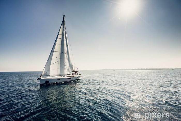 Sailing ship yachts with white sails Vinyl Wall Mural - Nature