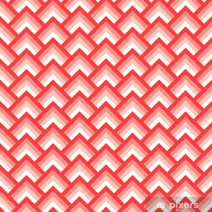 Mural de Parede em Vinil Pink and white chevron geometric seamless pattern, vector - Temas