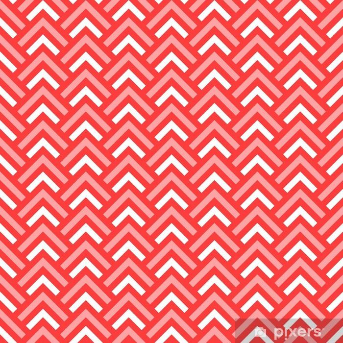 Pixerstick Sticker Roze en witte chevron geometrische naadloze patroon, vector - Achtergrond