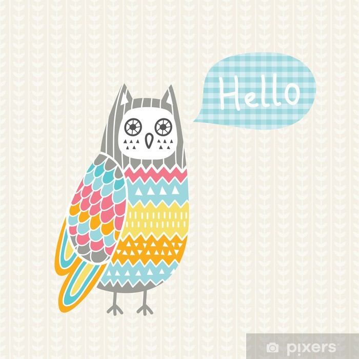 Vector illustration with colorful owl Poster - Themes