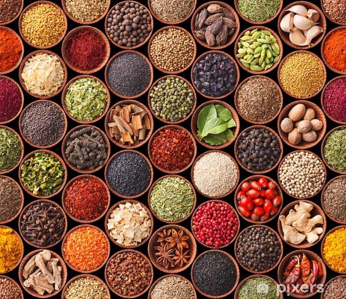 Plakat Bezszwowych tekstur z przyprawami i ziołami - iStaging