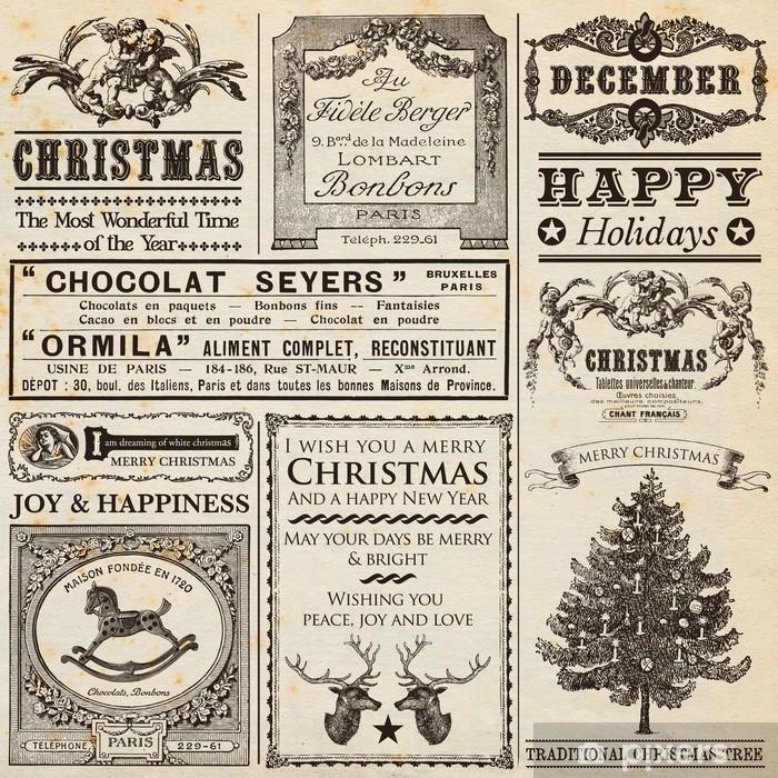 Vinilo Pixerstick Navidad periódico - Celebraciones internacionales