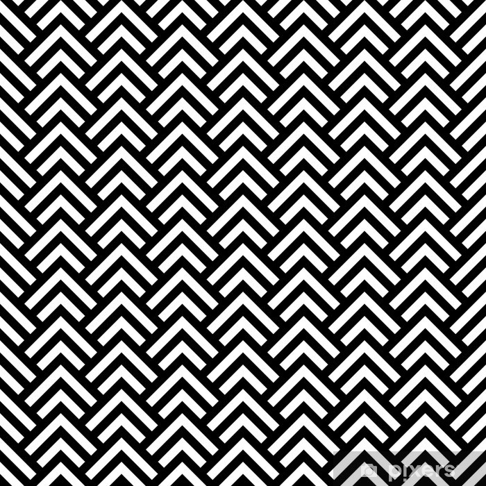 Black and white chevron geometric seamless pattern, vector Poster - Styles