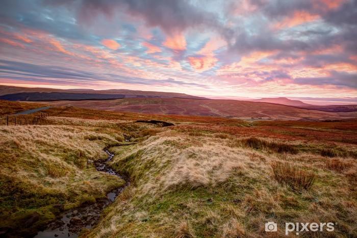 Vinilo Pixerstick Yorkshire Dales la puesta del sol - Campos