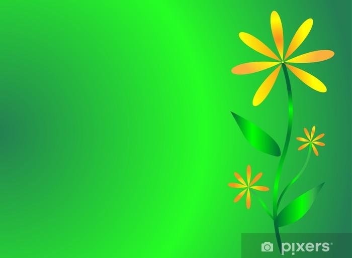 Fototapeta winylowa Pomarańczowy kwiat na zielonym tle - Tła