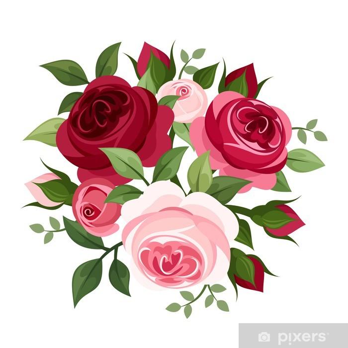 Vinilo Pixerstick Rosas Rojas Y Rosas Ilustracion Del Vector