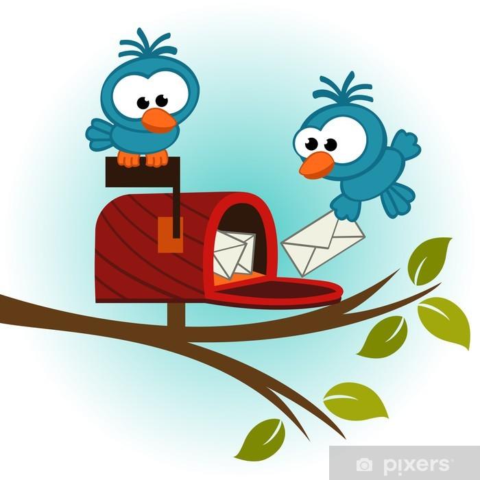 Papier peint vinyle Les oiseaux et les boîtes aux lettres avec répondeur - illustration vectorielle - Oiseaux