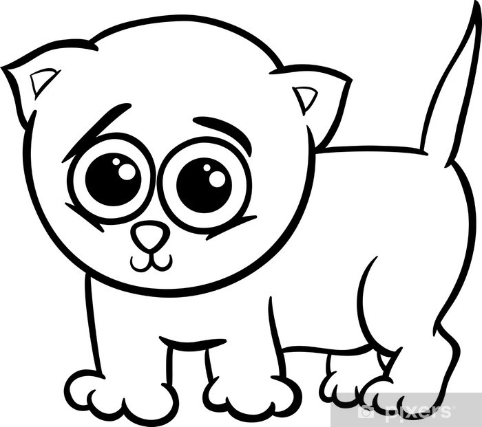 Bebek Kedi Yavrusu Karikatur Boyama Duvar Resmi Pixers Haydi