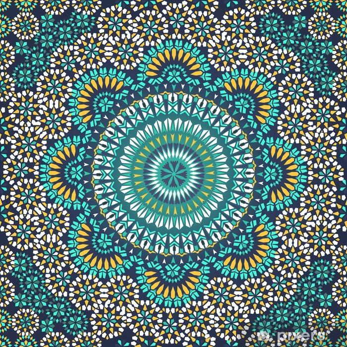 Naklejka Pixerstick Powtarzalne deseń w stylu mozaiki etnicznej. - Mozaika