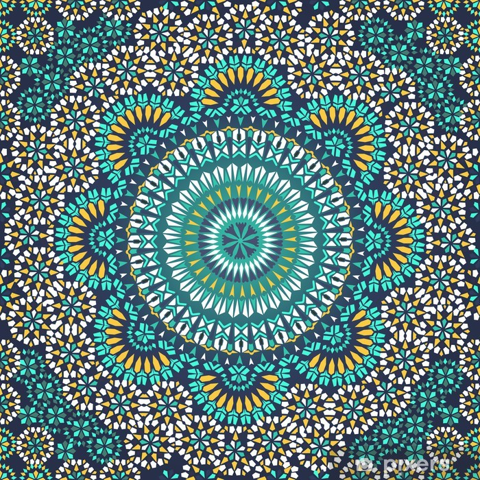 Seamless pattern in mosaic ethnic style. Vinyl Wall Mural - Mosaic